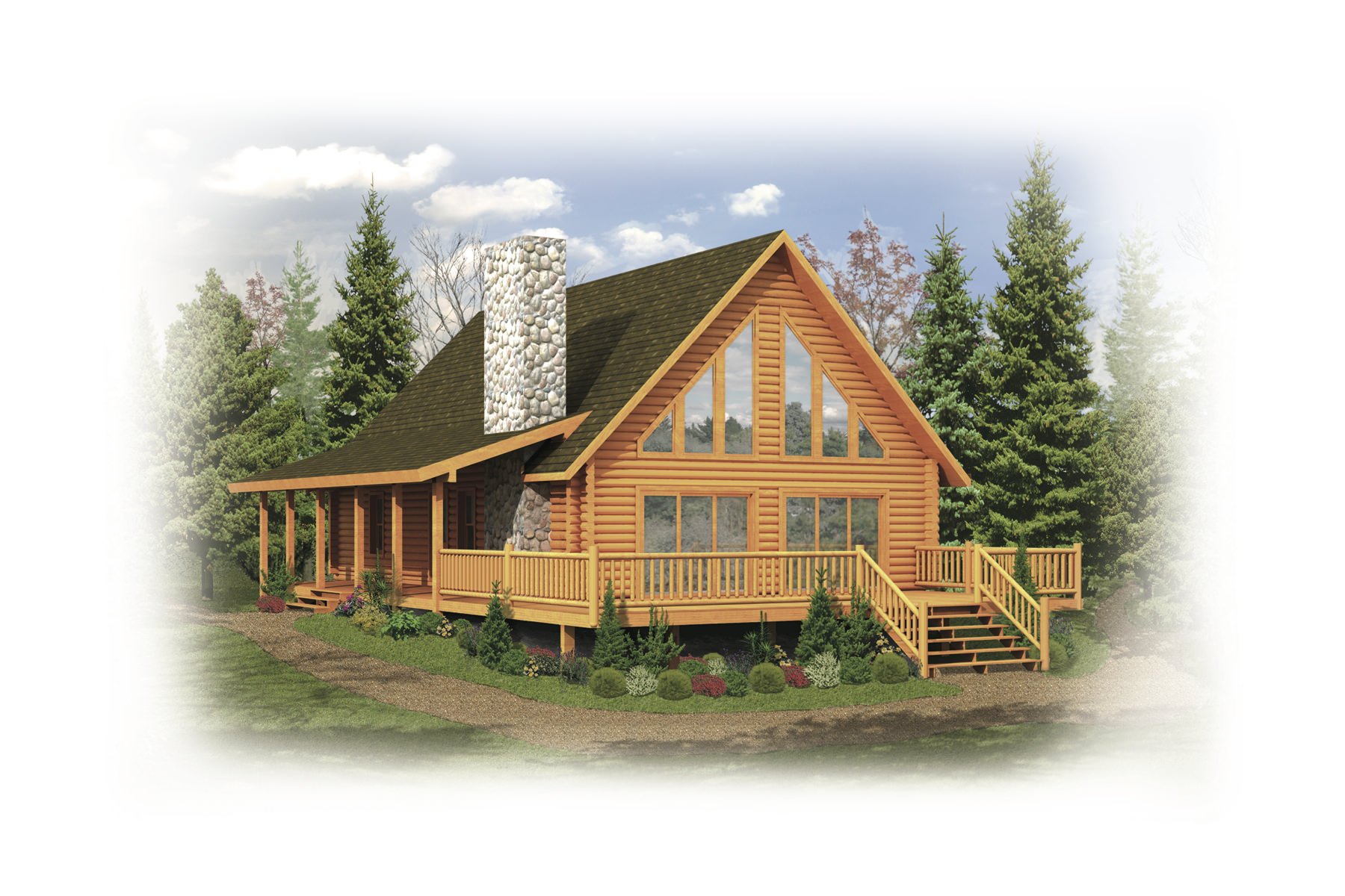 Tomahawk log home plan by strongwood log timber company for Timber log home plans