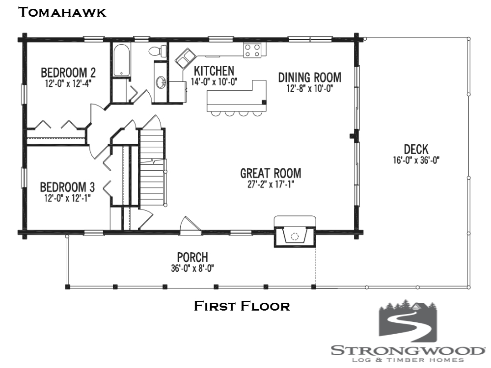 Strongwood Log Homes Floor Plans: Tomahawk Log Home Plan By Strongwood Log & Timber Company