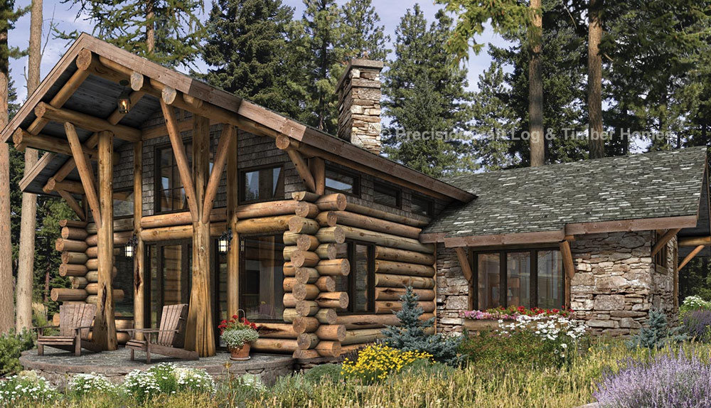 Telluride log home plan by precisioncraft timber homes