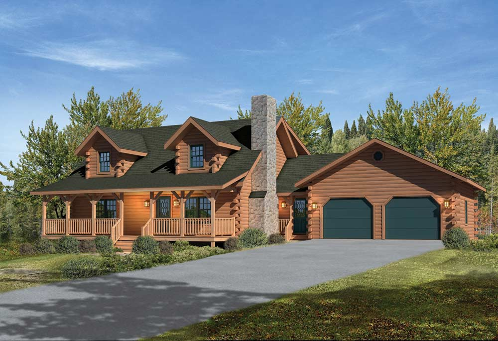 log home floor plans with garage mountain view ii log cabin plan by timberhaven log 27217