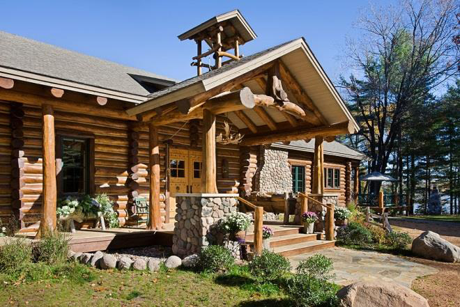 elk lake log home plan by town country cedar homes. Black Bedroom Furniture Sets. Home Design Ideas