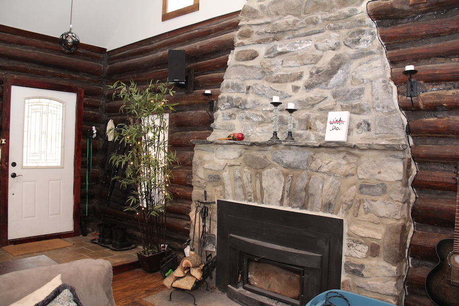 Log Cabin Renovation Fireplace View