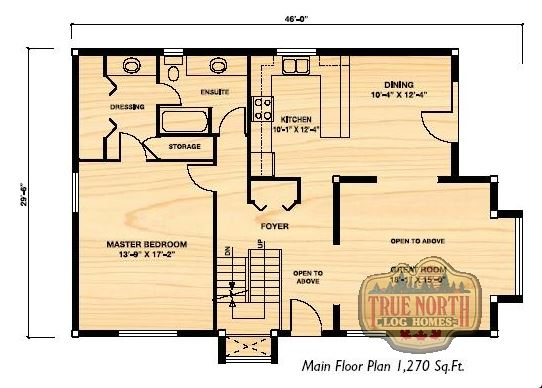 The cabot log home floor plan by true north log homes for True homes floor plans