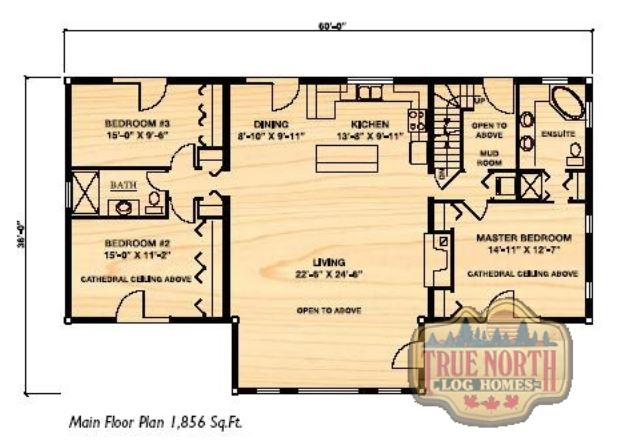 Segwun 2 log home plan by true north log homes for True homes floor plans