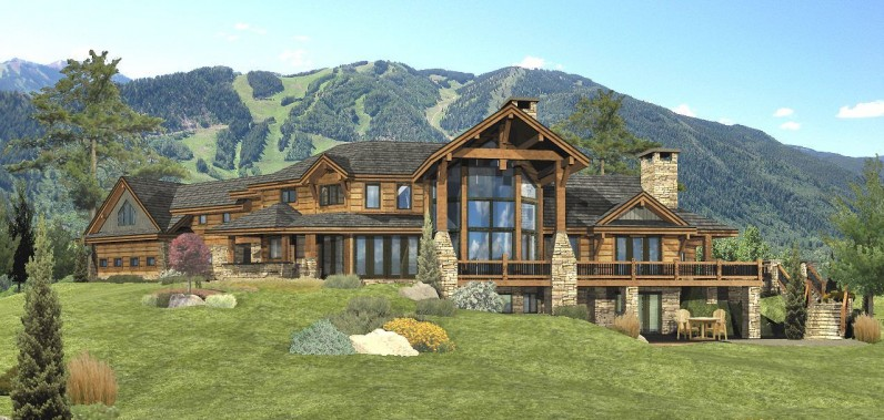 Redwood falls log home floor plan by wisconsin log homes for Large luxury log homes