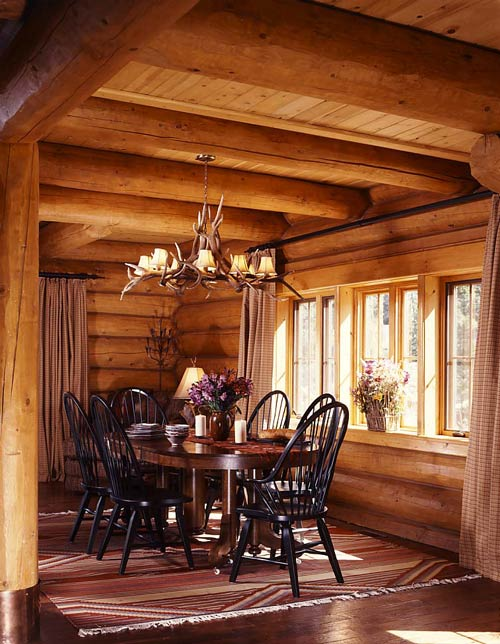 Rustic Dining Space In The Log Cabin.