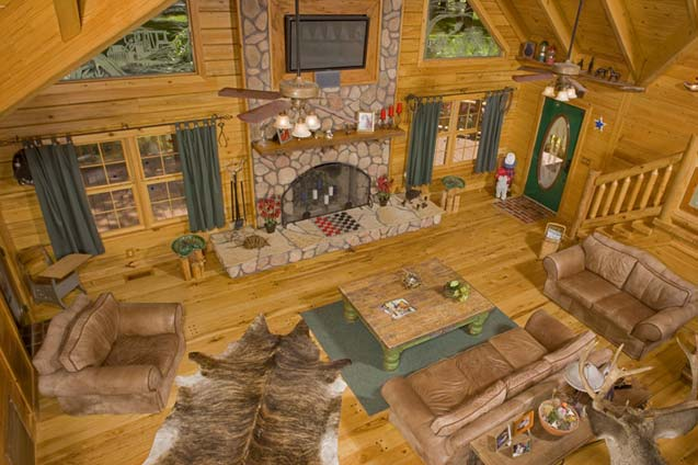log home great room - Log Home Plans Small Kitchen