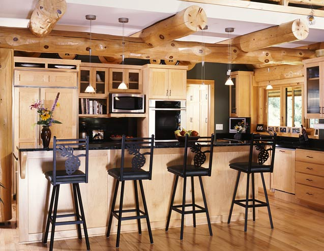 Modernized Log Home Kitchen
