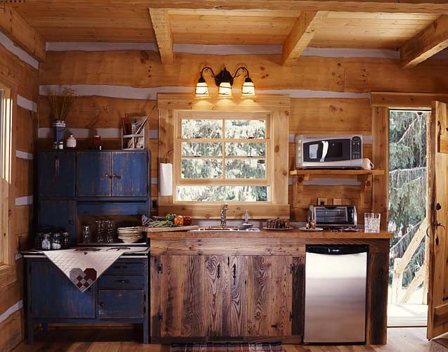 Superb Cabin Kitchen Design Ideas Part - 6: A Small Kitchenette In The Cabin With An Antique Hoosier Cabinet