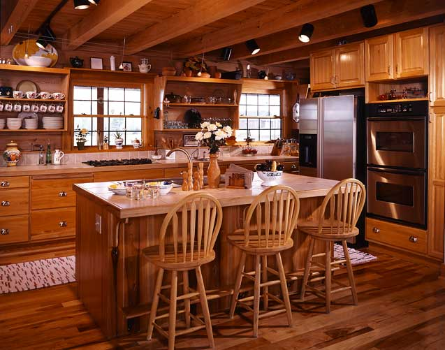 Coming home again a south carolina log home for Log cabin kitchen countertops