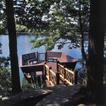 A floating dock provides access to the lake and a roomy spot to relax.