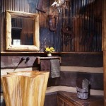 An upturned cypress tree trunk makes an eye-catching sink in the powder room.