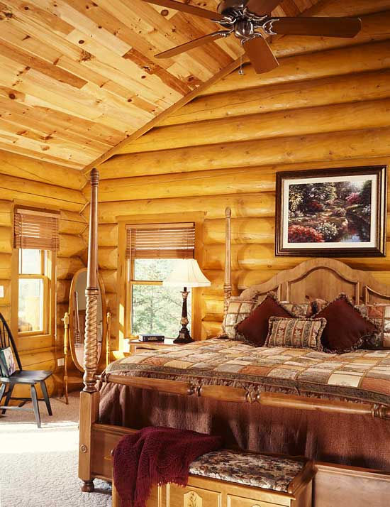North carolina dream log home in the smoky mountains for Log home bedrooms