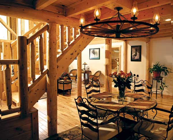 Updating a classic log cabin in maryland for Log cabin chandelier
