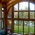 Timber framing allows for wide open spaces, like this home's vaulted great room.