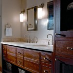 NEWwoodworks fashioned the master bathroom's contemporary cabinets that are both functional and beautiful.