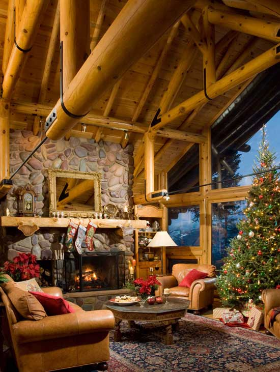 The Original Builder Cut Chord Of Open Beam Truss System And Inserted Black Steel Tie Rods To Keep Log From Interrupting View Through