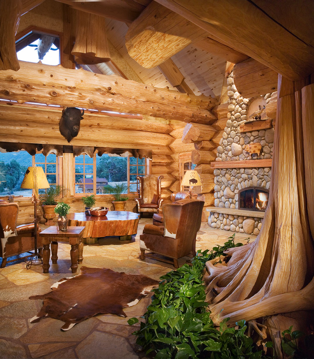 Nature Inspires The Look Of The Living Room.