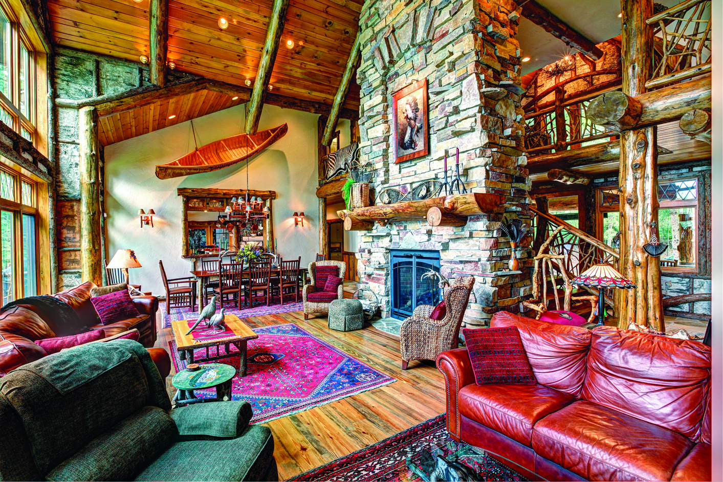Greatroom of lodge-style log home