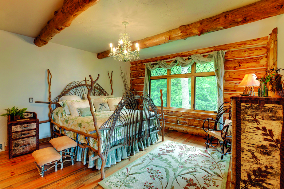 Master Bedroom of lodge-style log home
