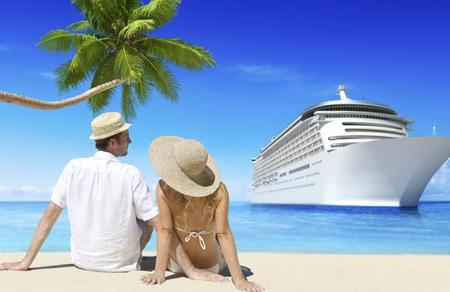 Romantic couple relaxing at beach with 3d cruise ship