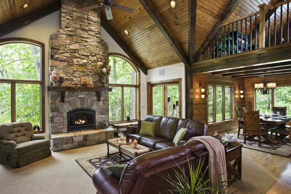 woodsy-log-home-great-room