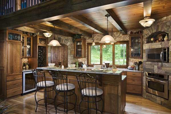 woodsy-log-home-kitchen