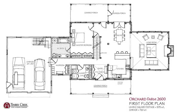 Orchard farm floor plan by timber creek post beam co for Open beam house plans