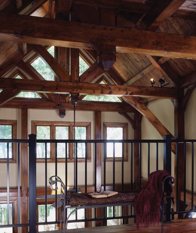 The loft gives an up close view of the timber frame post and beam ...