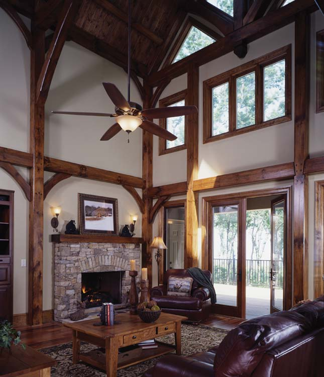 Mountain lure a georgia timber frame home for Great room fireplace