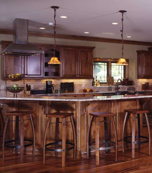 Mountain lure a georgia timber frame home for Gourmet kitchen islands