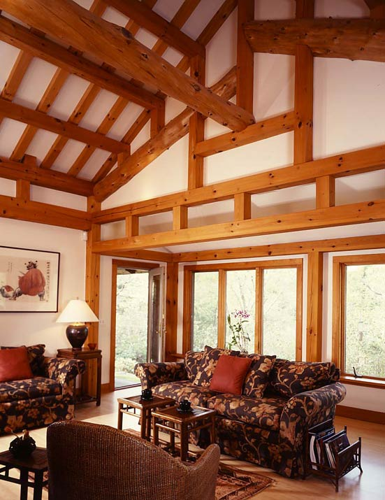 eastern timber frame house living room