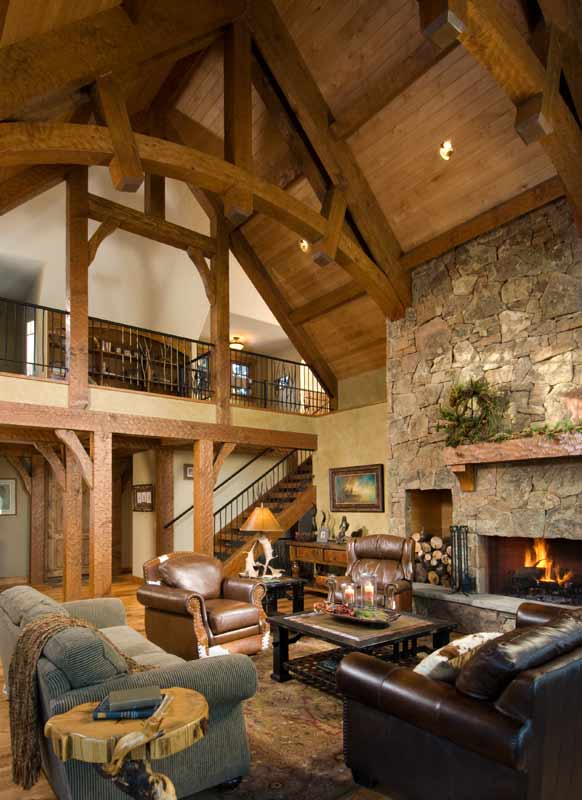 Great room of a timber frame house dream homes for Timber frame great rooms