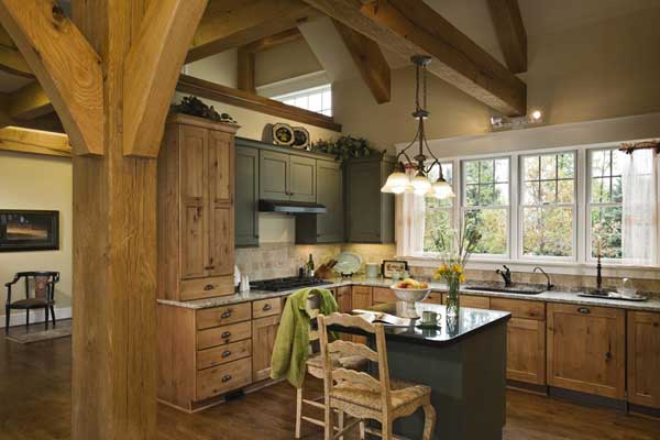 Platium Leed Certified Post and Beam Timber Frame Home Kitchen with small island