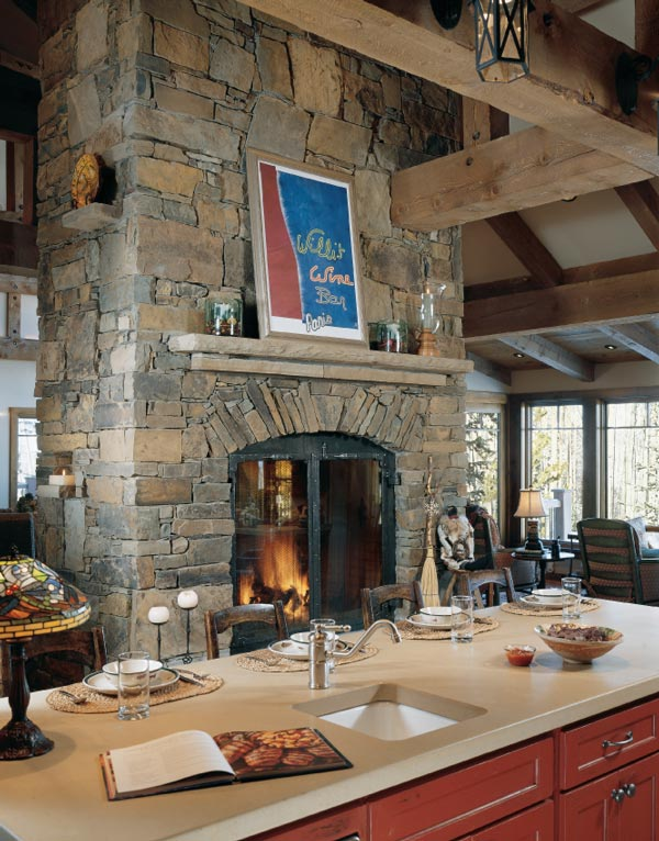 Two fireplaces one chimney home design for House plans with double sided fireplace