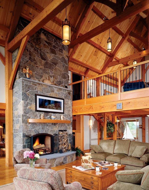 5 great fireplace and hearth designs for Post and beam living room ideas