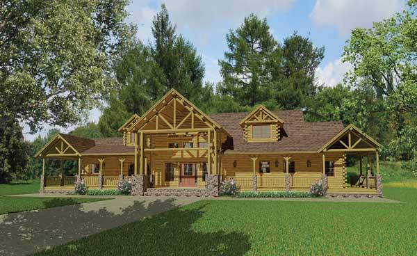 Western log home plan by katahdin cedar log homes for Western home plans