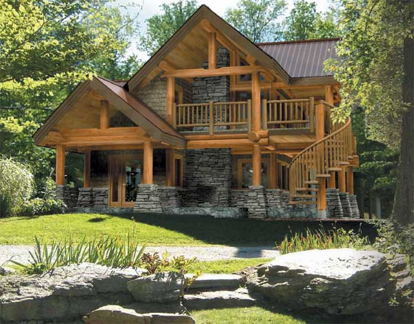Astoria log cabin plan by the log connection for Log and stone home plans