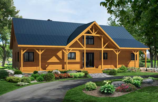 Summerfield log home plan by timber block for Summerfield designs house plans