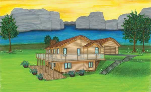 Estes ranch log home plan by international homes of cedar for International house plans