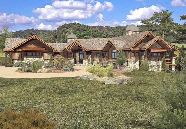 Grayson peak log home floor plan by wisconsin log homes for Single story timber frame homes