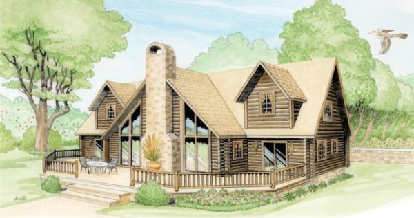 Georgia log home plan by bk cypress log homes for Log home plans georgia