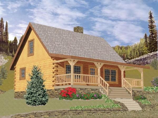 Wilderness log home plan by battle creek log homes for Wilderness cabin plans
