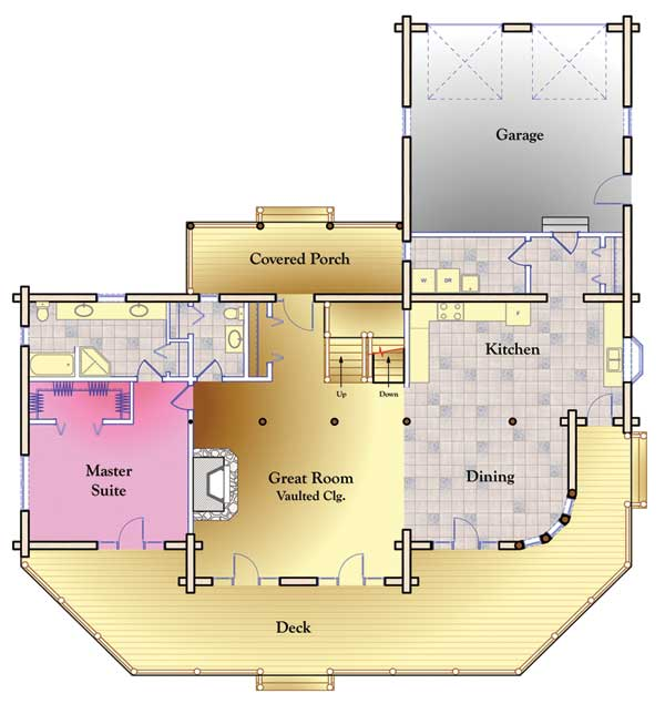 Dakota log home floor plan by hiawatha log homes for Dakota floor plan