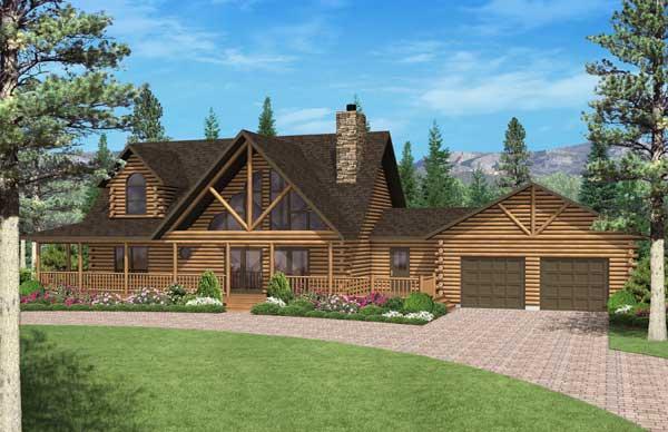 Exterior: Big Timber Log Home Plan By Golden Eagle Log & Timber Homes