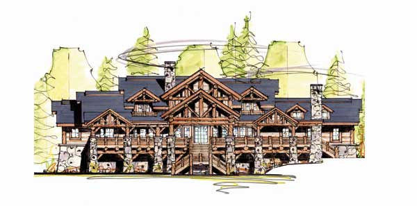 Elk lodge home plan by mosscreek designs for Moss creek home plans