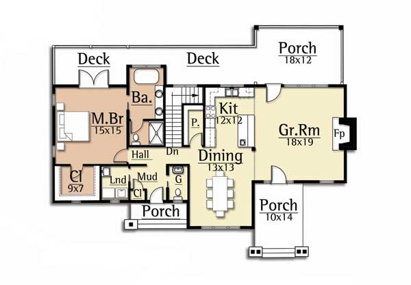 Elk view home plan by mosscreek designs for Moss creek house plans