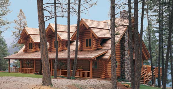 Spruce creek log home plan by rocky mountain log homes for Rocky mountain home builders