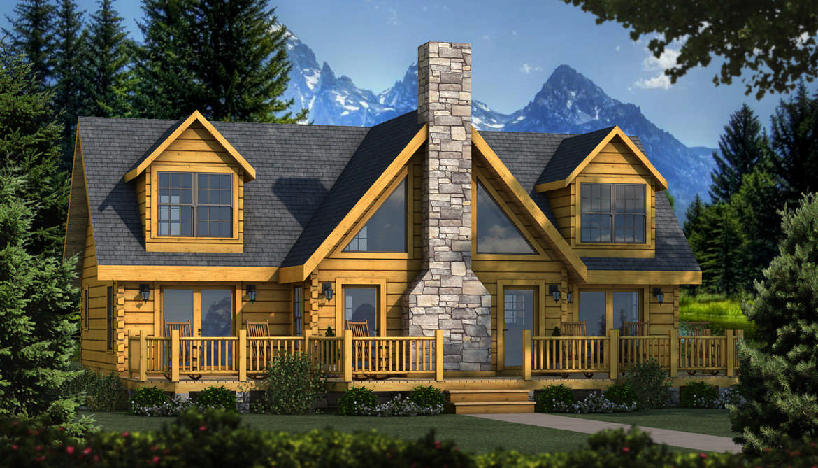 Grand lake log home plan by southland log homes for Lake house cabin floor plans