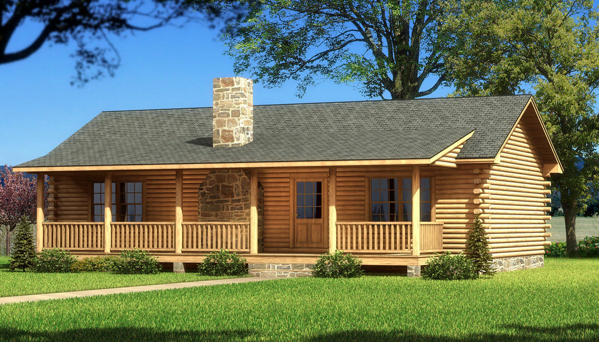 Vicksburg log home plan by southland log homes for Three story log cabin